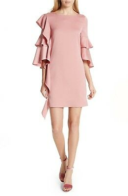 832e04514503 NEW TED BAKER London Pink Eicio Frill Detail Tunic Dress Size 2 (US ...