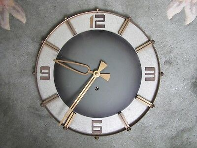 Rare Vintage Mid Century German Welby Corp Brass & Metal Wall Clock