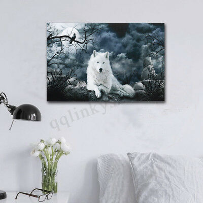 AU 20''X30'' Wolf Stone Canvas Prints Wall Painting Pictures Wall Art Home Decor