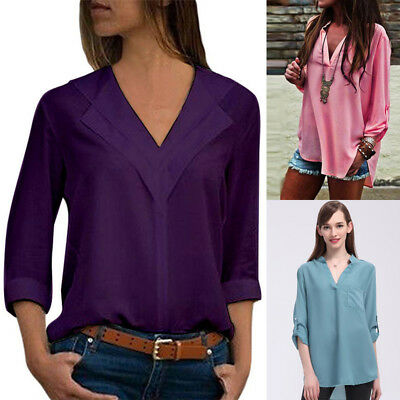 Sexy Women's V-NECK Loose Long Sleeve Chiffon T Shirt Tops Casual Blouse