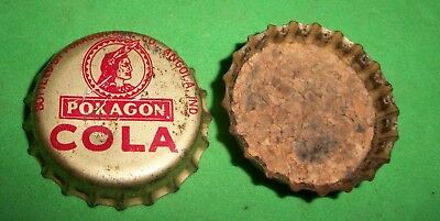 (1) Re-Flared Used Pokagon Cola Angola Indiana Cork Lined Soda Bottle Cap  RARE!