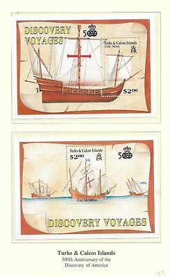 Turks & Caicos 1991 Discovery Voyages min sheets MNH