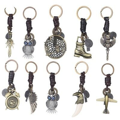 Copper Color Punk Cool Keychain Charm Owl Airplane Shape Metal Car Purse Keyring