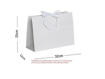 Recycled White Medium Boutique Shop Ribbon Gift Bags - Rope Handle Events Bag