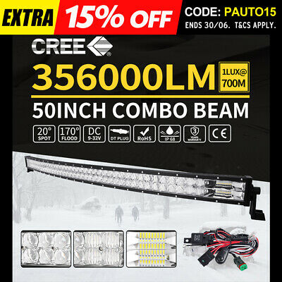 50inch Cree Curved LED Light Bar Spot Beam Work Driving 4WD Truck SUV 52""