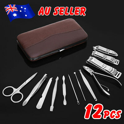 12PCS Manicure Pedicure Set Kit Stainless Nail Clippers Cuticle Grooming Case EB
