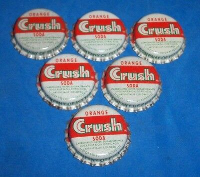 (6) Unused NOS 1950/60s Era Orange Crush Pittsburgh Pa Cork Soda Btl Caps 7-UP