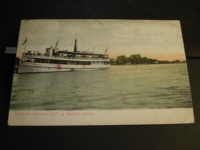 Steamer MINERAL CITY at WALPOLE ISLAND, ONTARIO Naval Cover 1909 postcard CANADA