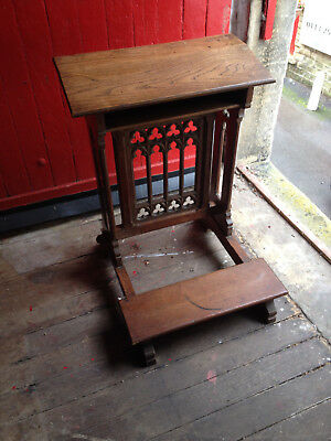 Antique Gothic Oak Carved Large Prayer Desk, Prie Dieu, Lectern, Church Kneeler