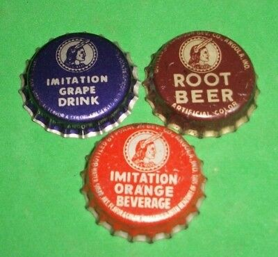 (3) Diff Unused NOS & Re-flared Pokagon Root Beer Cork/Plastic Soda Bottle Caps