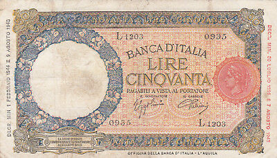 50 Lire Fine Banknote From Italy 1944!pick-66