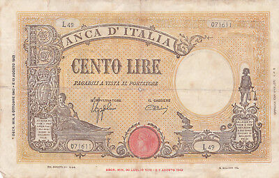 100 Lire Vg Banknote From Italy 1943!pick-59