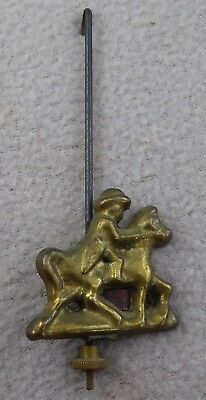 Vintage Dutch Clock Pendulum Rod and Bob Man on Horse