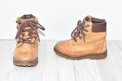 Brown Real Leather TIMBERLAND Ankle Boots Lace Up Infant Girls Boys Size UK7