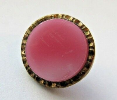 "Nice Antique~ Vtg Victorian Pink GLASS in Metal Waistcoat BUTTON 1/2"" (g37)"