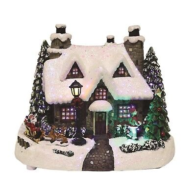 LED Fibre Optic Light Up House With Xmas Christmas Scene