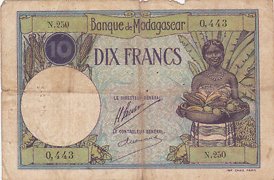 10 Francs Vg- Fine  Banknote From French Madagascar 1937-47!pick-36