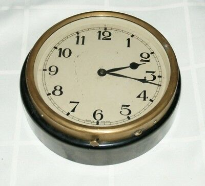 WWII Air Ministry Bakelite & Brass Cased Wall Clock