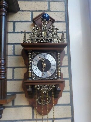 Vintage Dutch Nu Elck Syn Sin Wall Hanging Striking Clock Good Working Order