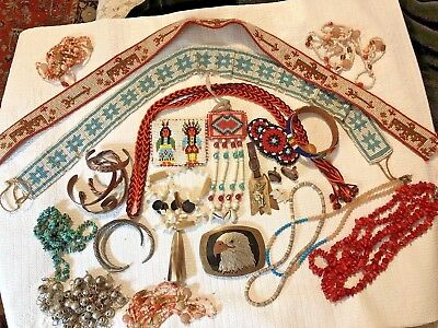 Unusual Lot Of American Indian Handmade Items Copper Jewelry & Beaded Jewelry