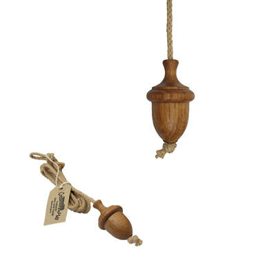 Traditional Turned Wooden Oak Oiled Large Acorn Light Curtain Cord Pull + Rope