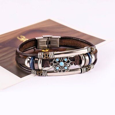 Vintage Boho Bracelet Multilayer Leather Handmade Bangle Women Punk Jewelry Gift