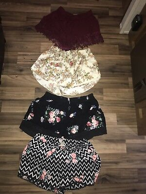 Lot Of 4 Pairs Of Womens Juniors Stretchy Lounge Shorts Rue 21 Floral