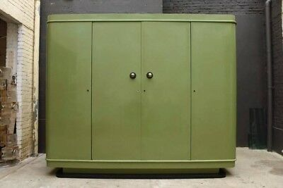 Art Deco Green Lacquer Four Doors Cabinet/Wardrobe 1928