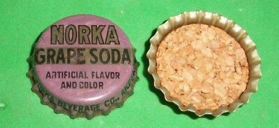 (1) Re-flared Used 1940/50s Norka Grape Akron Ohio Cork Soda Bottle Cap *RARE*