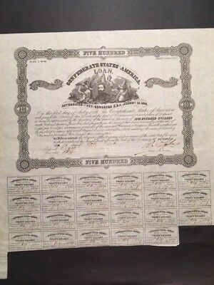 Original Confederate $500 bond Criswell 67, shows unknown man