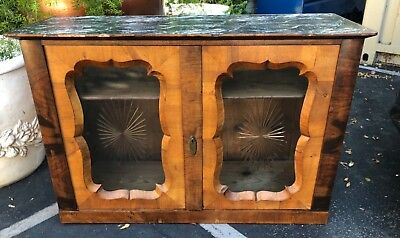 Antique Biedermeier Style Hutch Top Cupboard Cabinet