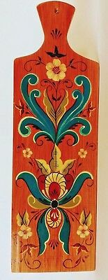 "Norwegian Rosemaling Board, Hand-Painted, Cheese Board, Large 18.5."" X 5.75"""