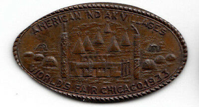 Elongated cent - Chicago World's Fair 1933 - American Indian Villages - 1890 1c