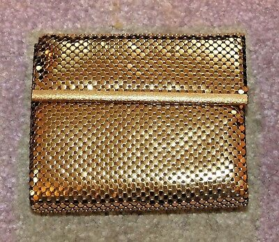 Unused WHITING & DAVIS GOLD MESH WALLET, Billfold, Coin Purse, Vintage, NOS, New