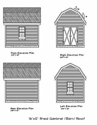 12x16 Storage Shed Plans Package Blueprints Material List