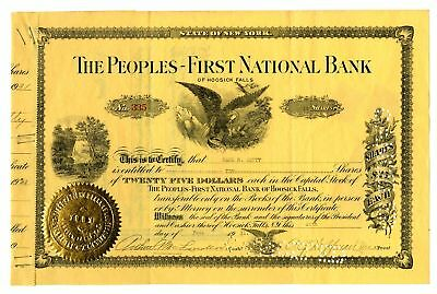 NY. Peoples-First National Bank, 1931 I/C  Stock Cert.10 Shrs