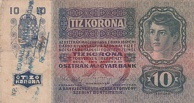 10 Korona/kronen Vg+ Note1918 With A Stamp From Shs Kingdom's Military