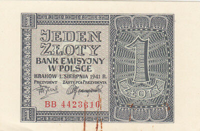 1 Zloty Ef Banknote From German Occupied Poland 1941!!pick-99!!