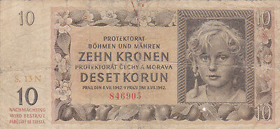 10 Korun Vg Banknote From Bohemia-Moravia 1942!nazi Occupation Issue!pick-8