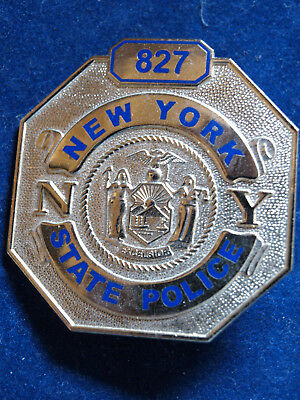 BADGE NEW YORK STATE POLICE kein NYPD - L.B.A. mit Emaille goldfarben