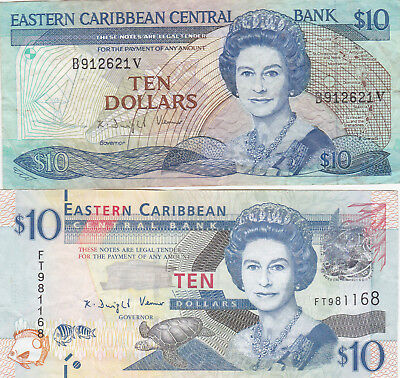 2 Different 10 Dollars Vf-Ef Banknotes From Eastern Caribbean!
