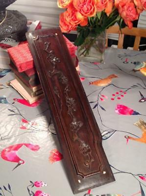 Antique LARGE Ex-Shop Door Finger Plate Art Nouveau H/Carved Mahogany 19thC CHIC