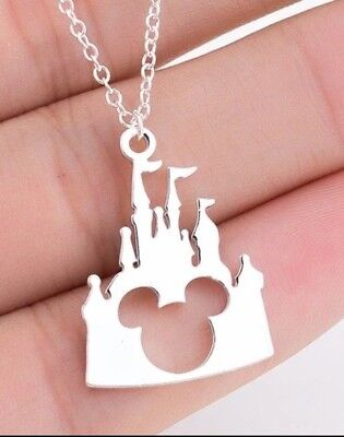 Disney Castle / Mickey Mouse Necklace - Silver - Gift Present Free Fast Shipping