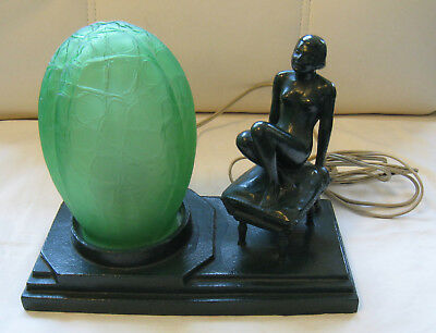 "SUPERIOR VINTAGE MID 20TH C.10 ½""x5 ½""x8""h ART DECO FIGURAL NIGHTLIGHT NUDE GIRL"
