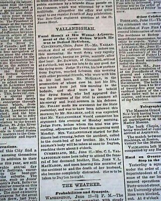 CLEMENT VALLANDIGHAM Very Bizarre Death Shoots Self by Accident 1871 Newspaper