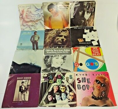 """Lot of 12 Rock Pop 45 rpm 7"""" Records w/ Cover Sleeves 70s & 80s Music Decor Au15"""