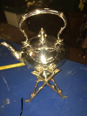 Victorian James Dixon & Sons Silver Plated Spirit Kettle & Twig Style Stand