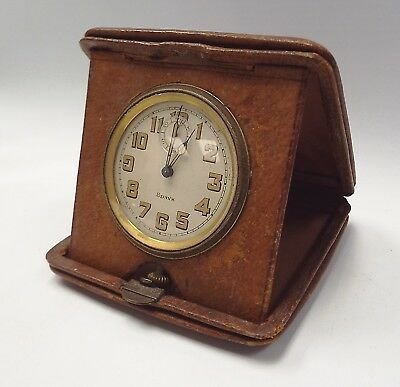 Vintage 8 DAY Travel Pocket Clock With Leather Case - R23