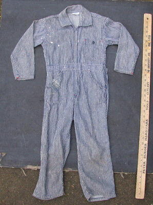 1950s JC PENNYS BOYS HICKORY STRIPE COVERALLS ToddleTime VINTAGE DENIM WORKWEAR