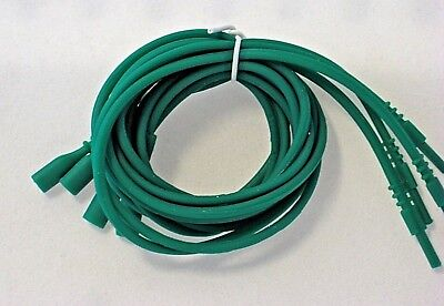 """Green Necklace Silicone Cord Funky Rubber Snap Add Pendant 16"""" or 18"""" 4 Piece"""